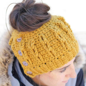 Bun Beanie with Faux Cables Pattern